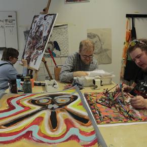 Three artists int he studio