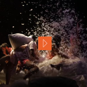 A group of dancers covered in feathers