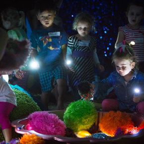 A group of children explore soft toys using torches