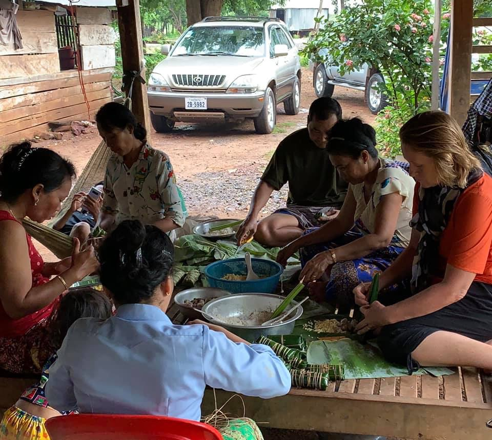Learning togetherness in preparing traditional Khmer snacks