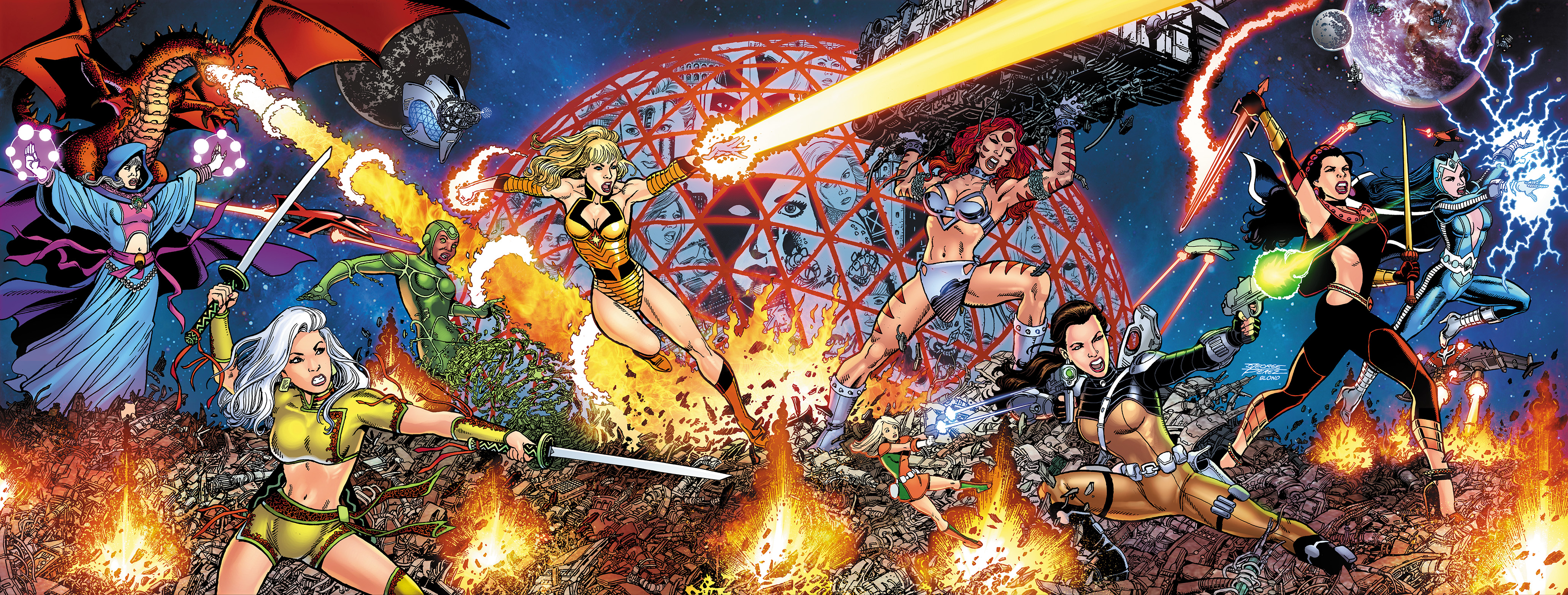 GEORGE PÉREZ'S SIRENS #1 Wraparound Cover by George Pérez