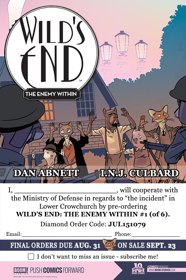 Wild's End: The Enemy Within Order Form