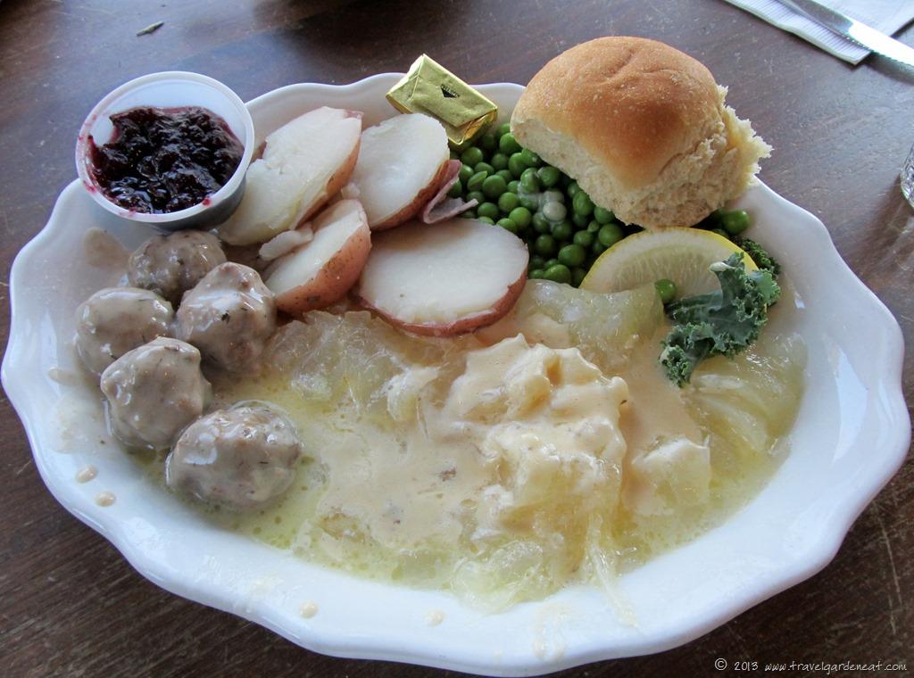 Plate full of lutefisk dinner