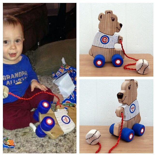 Custom themed bear pull toy