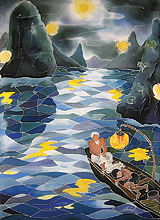 """Mending the Net"" is one of many silk paintings by Le trung Chinh on display in the Upstairs Gallery through June 30."