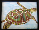 """Sea Turtle,"" watercolor pencil by Keyahma O'Neil."