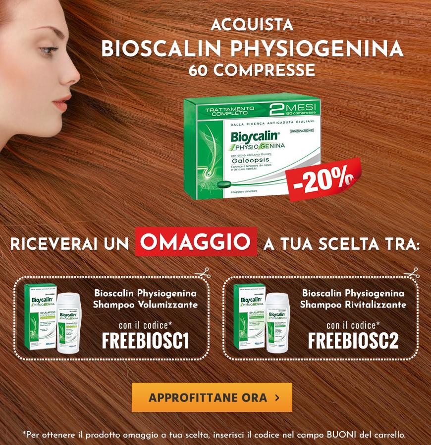 Acquista Bioscalin Physiogenina 60 compresse e ricevi in omaggio uno shampoo Bioscalin