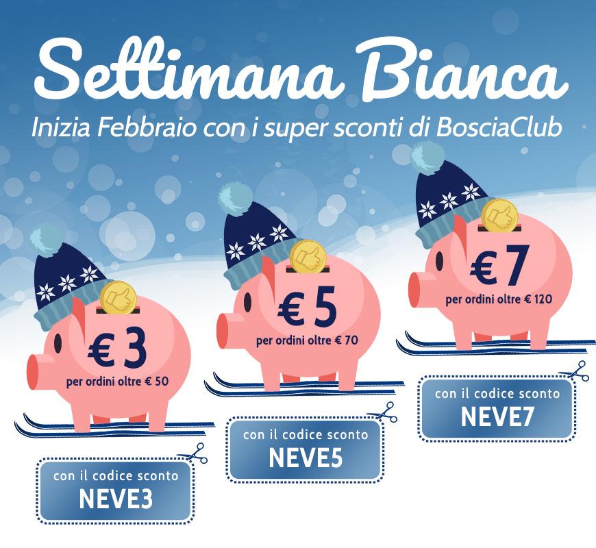 Settimana Bianca! Inizia febbraio con i super sconti di Bosciaclub! € 3 per ordini oltre € 50, € 5 per ordini oltre € 70, € 7 per ordini oltre € 120