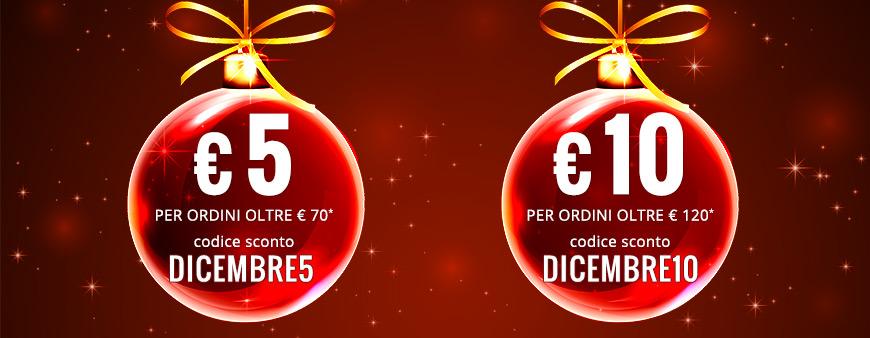 € 5 di sconto per ordini di € 70 con il codice DICEMBRE5. € 10 di sconto per odini di € 120 con il codice DICEMBRE10