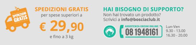 Spedizioni gratis per spese superiori a € 29,90 e fino a 3 kg