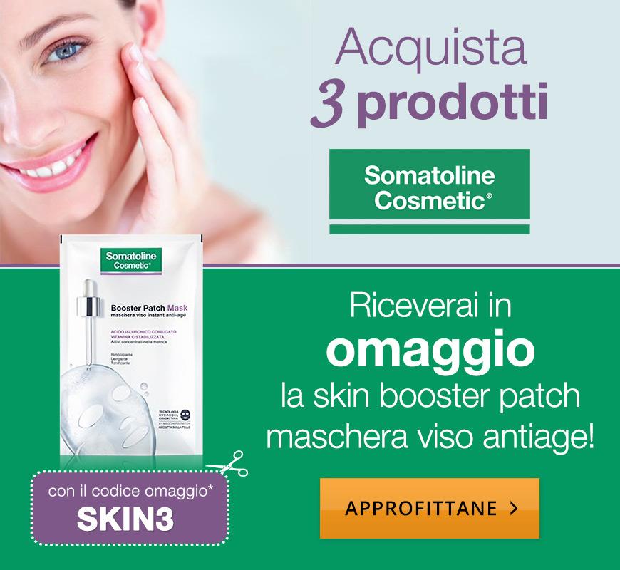 Acquista 3 prodotti Somatoline Cosmetic, riceverai in omaggio la skin booster patch maschera viso antiage! Con il codice omaggio SKIN3