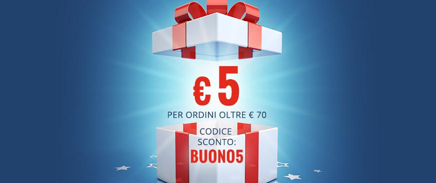 Coupon sconto di €5 per ordini oltre €70 con il codice sconto BUONO5