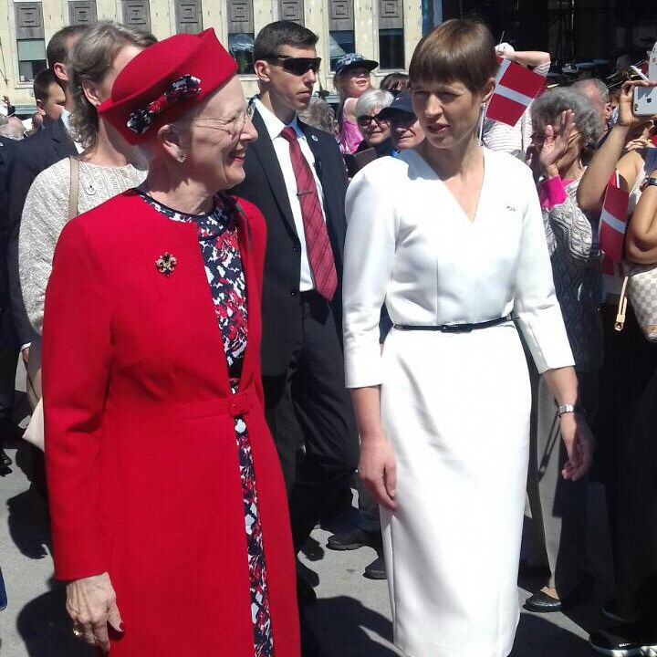 Danish Queen her royalty Margrethe II and Estonian President Kersti Kaljulaid, Vabaduse Väljak