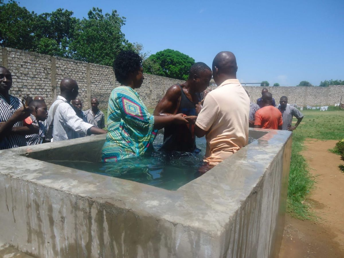 First Baptism at the prison ministry-48 men who are prisoners were baptized December 16th