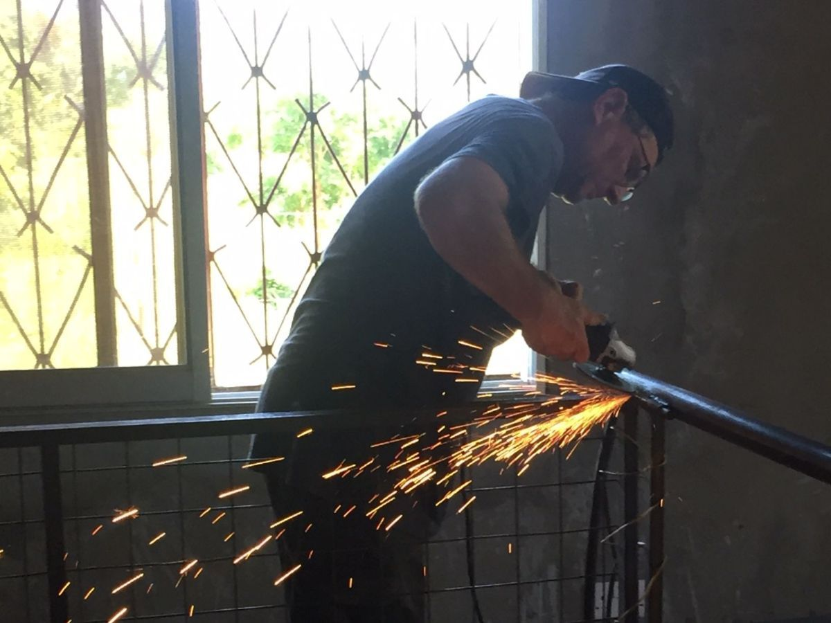 Tim welding Bunkbeds at Chembe