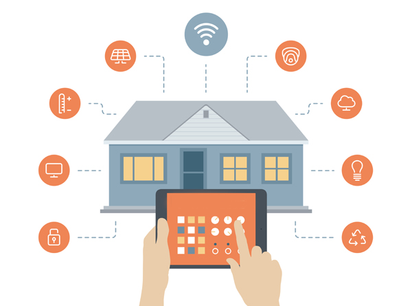 Picture of a house with app icons and a person using a tablet to depict a smart home