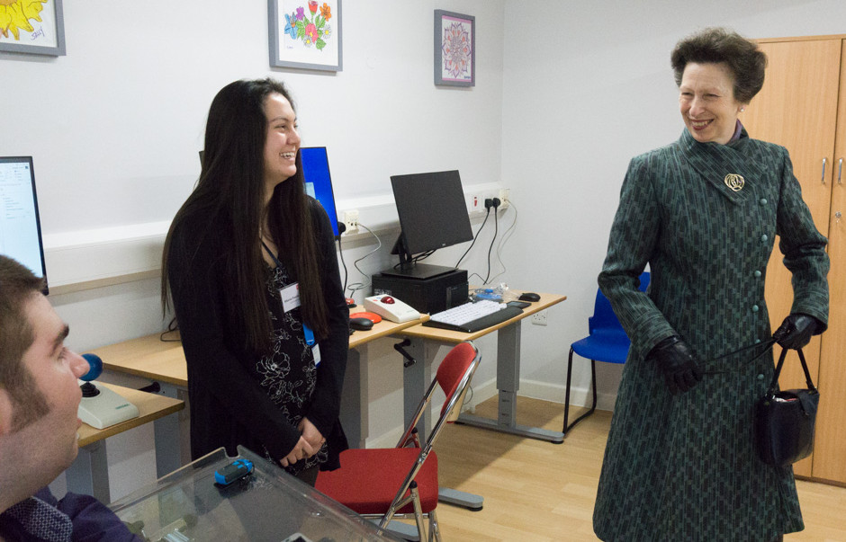 HRH The Princess Royal speaking to a student at  Queen Elizabeth Foundation for Disabled People