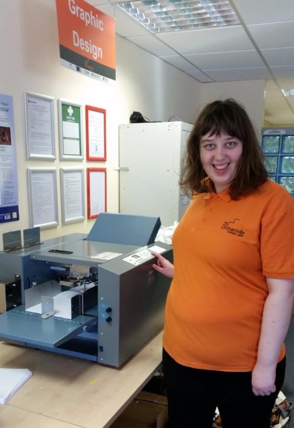 Annie with folding machine