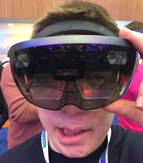 Student using a Microsoft HoloLens