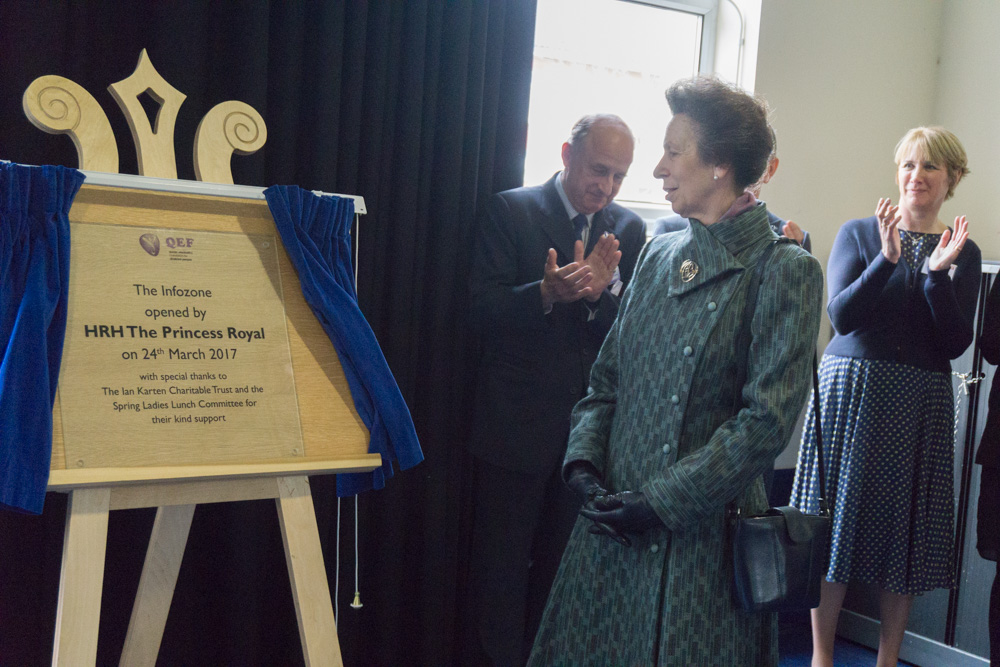 Princess Anne unveiling a plague at the Queen Elizabeth Foundation for Disabled People