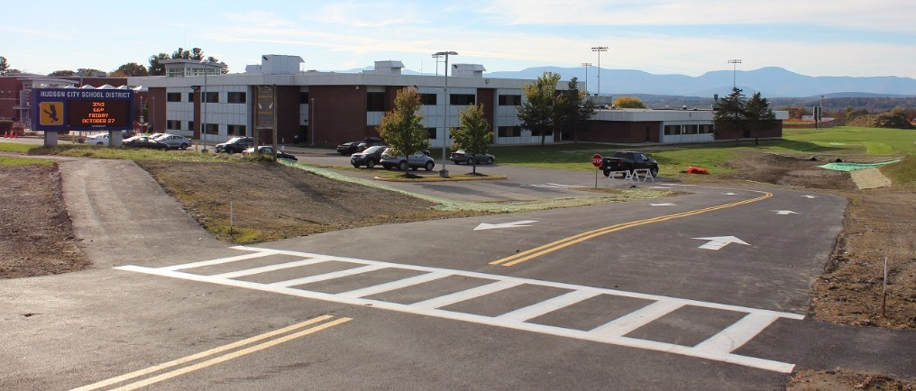 New two-way driveway at the high school