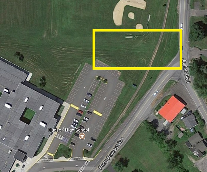 Aerial map to show location of new driveway at north end of campus