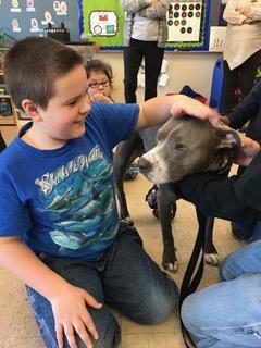 A boy pets Hudson the Railroad Puppy