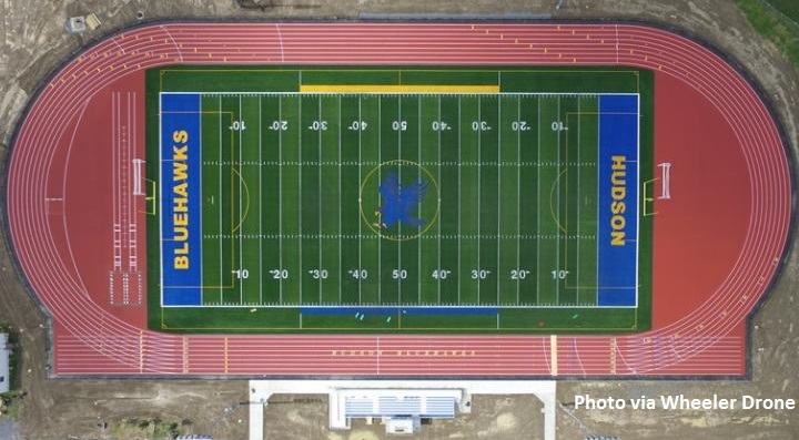 Aerial view of track and turf field