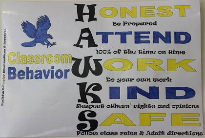 """A poster that reads """"honest, attend, work, kind, safe"""""""