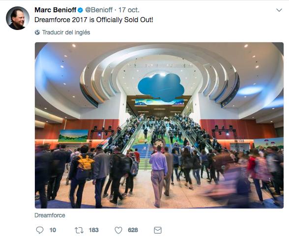 Twitter de Marc Benioff anunciando el aforo completo del Dreamforce 2017