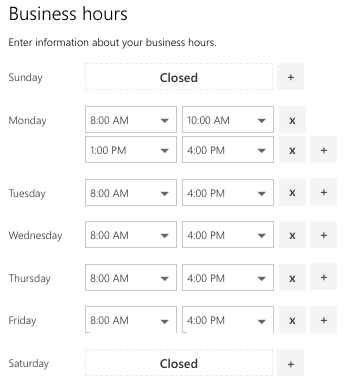screenshot of the business hours showing Monday 8-10 and 1-4