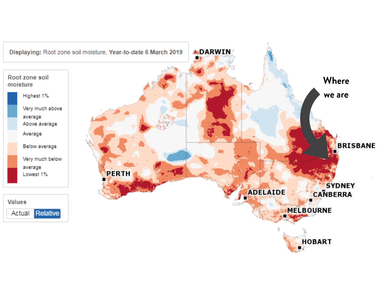 Soil moisture content from the Australian Bureau of Meteorology