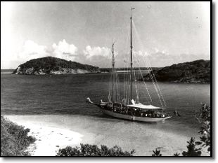 70' schooner MOLLIHAWK, belonging to Commander V.E.B. Nicholson at anchor in the Tobago Cays, St. Vincent, circa 1954