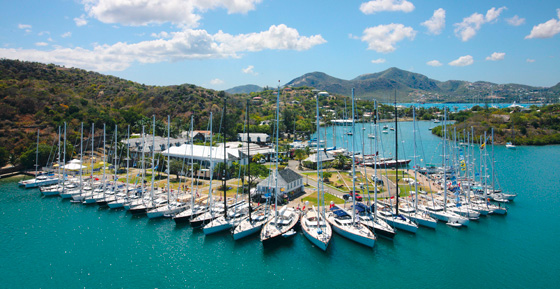 Nelson's Dockyard, Antigua, West Indies, home of V.E.B. Nicholson & sons, founder of Nicholson Yacht Charters, Inc., since 1949