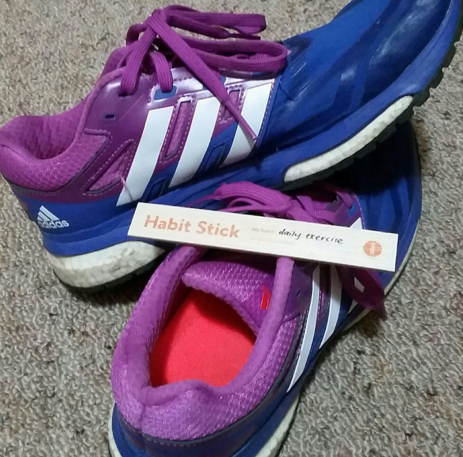 Running shoes with All Right? Habit Stick.