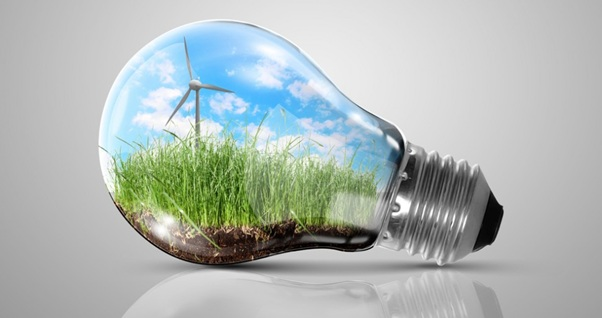 grass growing and a wind turbine inside a lightbulb.
