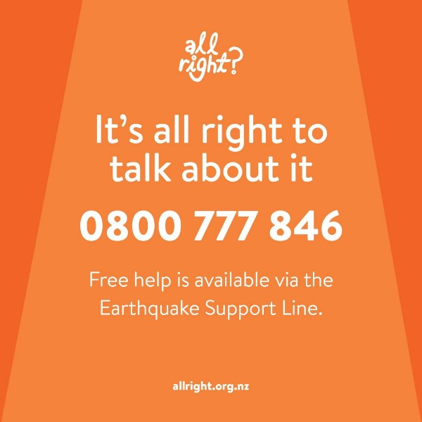 It's all right to talk about it: 0800 777 846. Free help is available via the Earthquake Support Line.