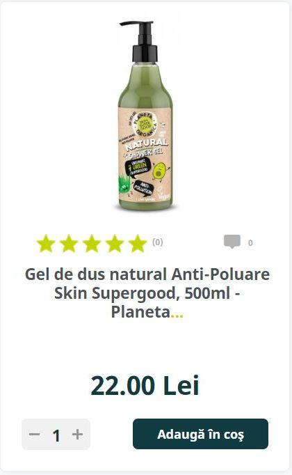 Gel de dus natural Anti-Poluare Skin Supergood, 500ml - Planeta