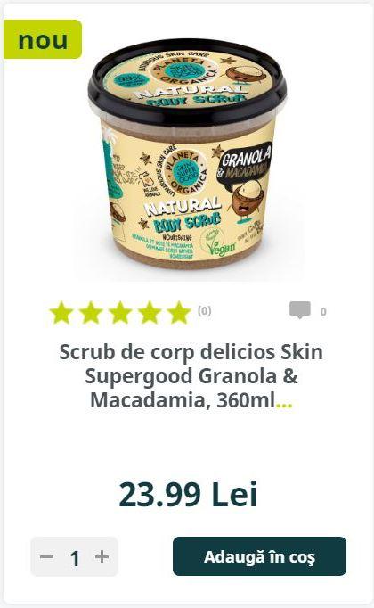 Scrub de corp delicios Skin Supergood Granola & Macadamia, 360ml