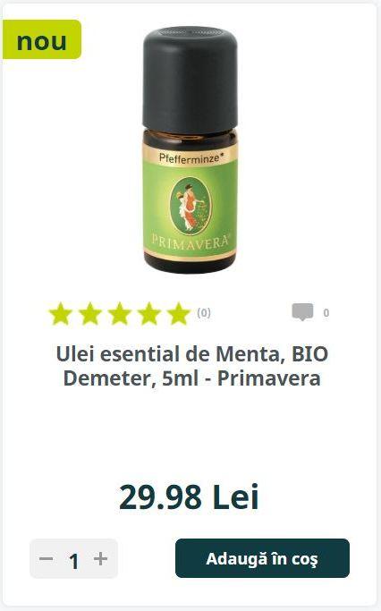 Ulei esential de Menta, BIO Demeter, 5ml - Primavera