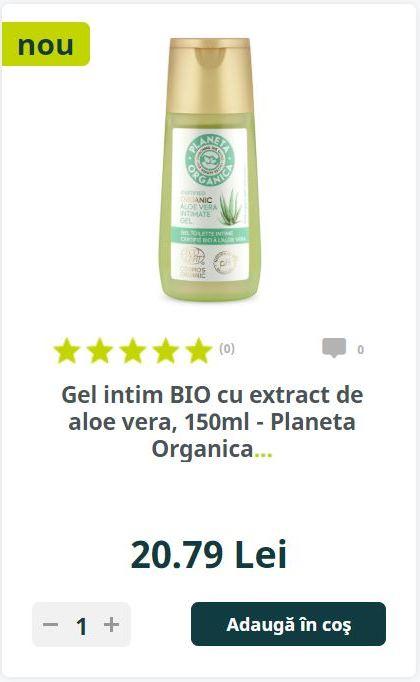 Gel intim BIO cu extract de aloe vera, 150ml - Planeta Organica..