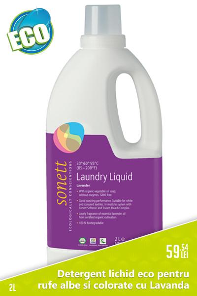 Detergent lichid eco pentru rufe albe si colorate cu Lavanda, 2L - Sonett