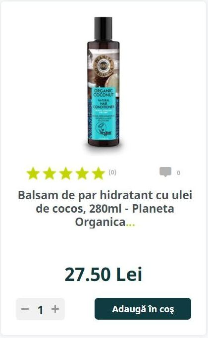 Balsam de par hidratant cu ulei de cocos, 280ml - Planeta Organica...