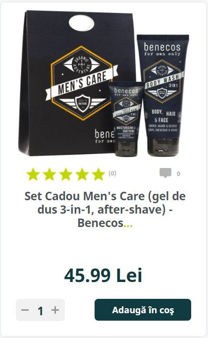 on on on on on on on on on on (0) 0 Set Cadou Men's Care (gel de dus 3-in-1, after-shave) - Benecos..