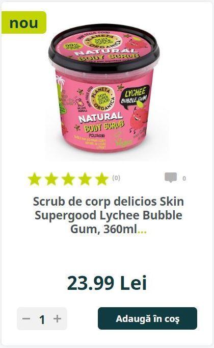 Scrub de corp delicios Skin Supergood Lychee Bubble Gum, 360ml