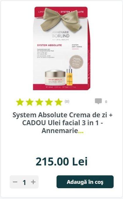 System Absolute Crema de zi + CADOU Ulei facial 3 in 1 - Annemarie..
