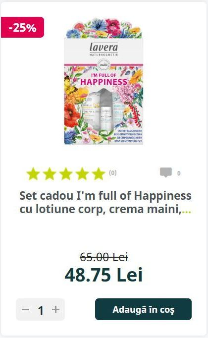 Set cadou I'm full of Happiness cu lotiune corp, crema maini,...