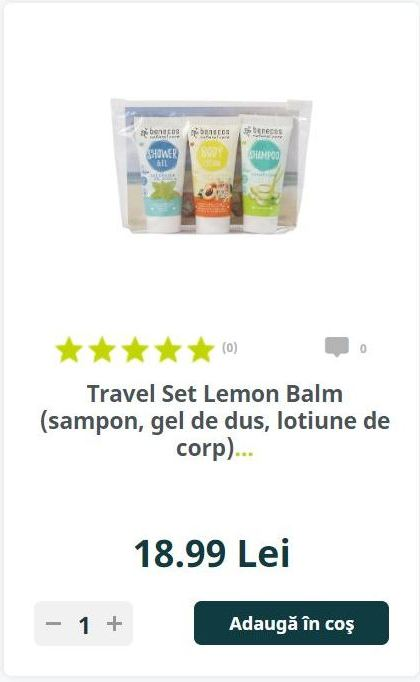Travel Set Lemon Balm (sampon, gel de dus, lotiune de corp)