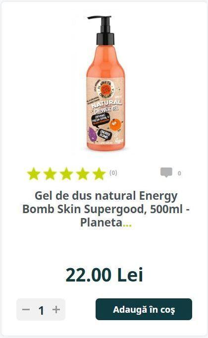 Gel de dus natural Energy Bomb Skin Supergood, 500ml - Planeta.