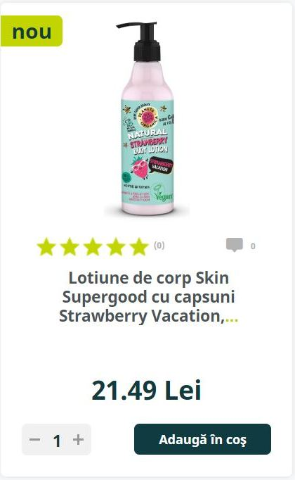 Lotiune de corp Skin Supergood cu capsuni Strawberry Vacation
